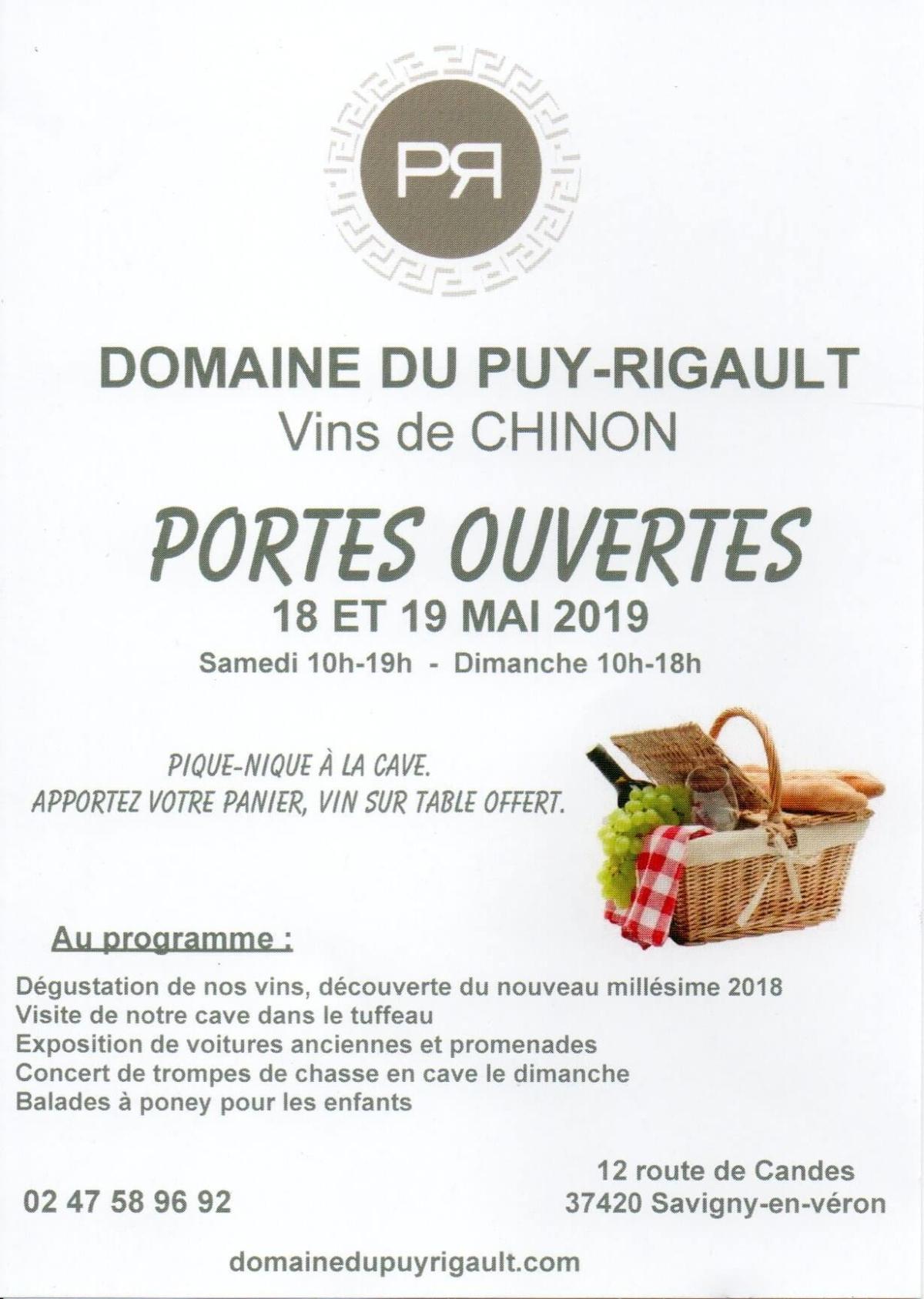 Portes ouvertes le 18 et 19 mai 2019 au domaine du Puy Rigault, vignerons en AOC Chinon